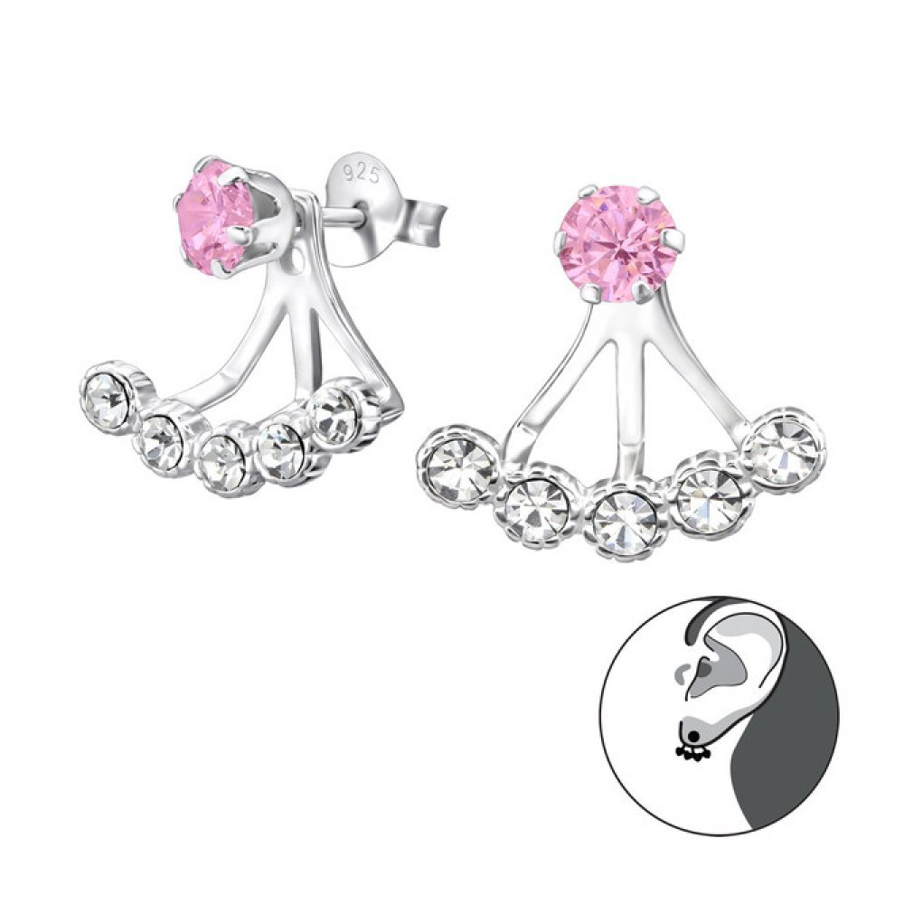 Sterling Silver Round Stud Earrings with Cubic Zirconia and Crystal Glitzs Jewels 22340