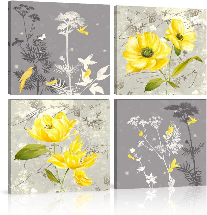Yellow and Gray Canvas Wall Art Grey Flowers Birds Abstract Print Painting 4 Panels Poster for Home Decor Bedroom Living Room Office Frame Ready to Hang