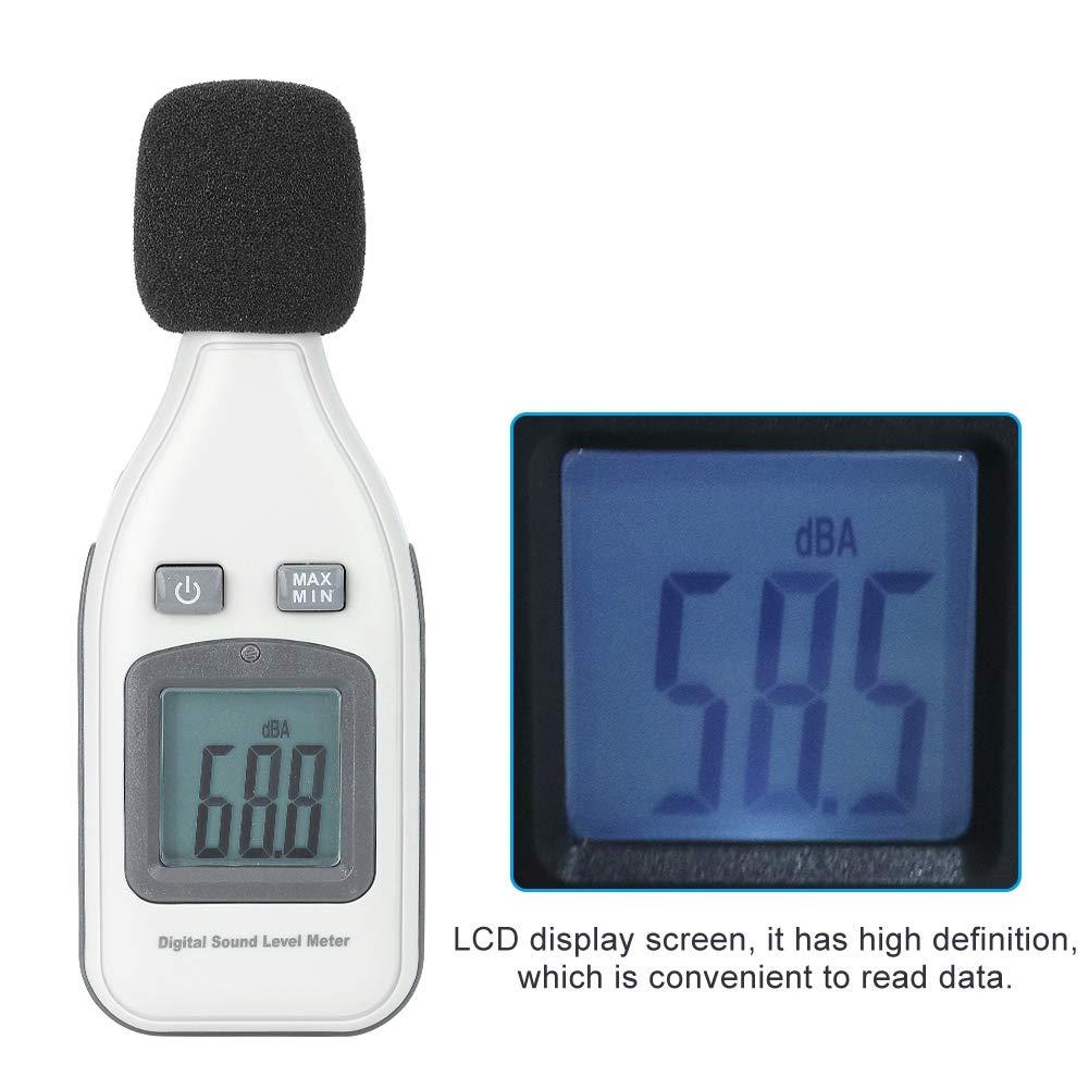 Digital LCD Sound Level Meter,Portable Digital LCD Display Screen Sound Level Meter Noise Tester Range from 30-130dBA Decibels