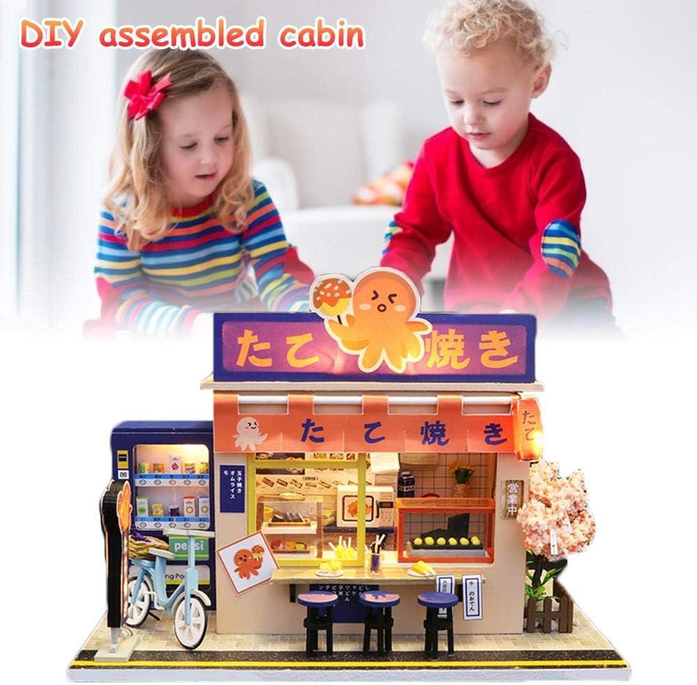 Mini Doll House for Children DIY Miniature Dollhouse Wooden Furniture Kit Assembled Handmade Cabin Japanese Style Grocery Store Model CAPTHOME Mini Doll House Art Gift