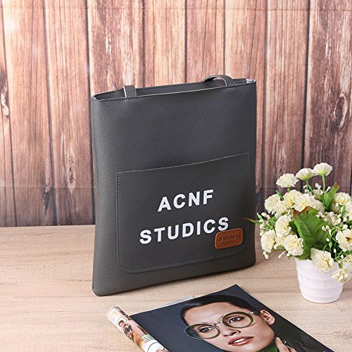 Big Bucket Quality Bag Aediea Bag Leather Gray High Shoulder Solid Women Handbag w5Hzq