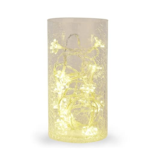 Crackle Glass Vase Lamp With Warm White Led Fairy Flower String