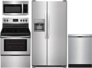 "Frigidaire 4 Piece Kitchen Package FFSS2615TS 36""Side by Side Refrigerator,FFEF3052TS 30""Electric Range,FFMV1645TS 30""Over the Range Microwave and FFCD2418US 24""Built In Dishwasher in Stainless Steel"