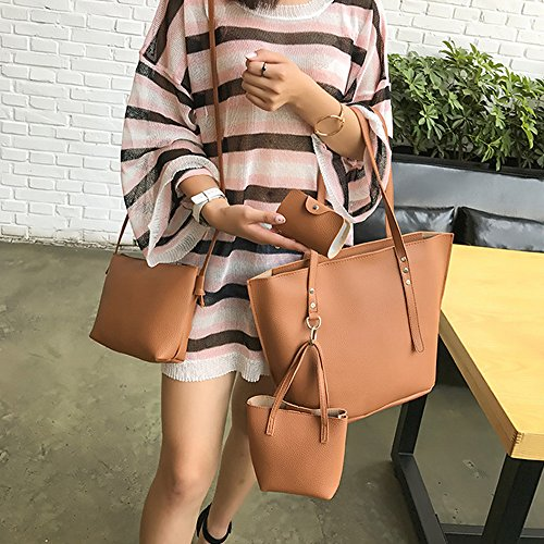 Color Beach Solid Leather Bag Shopper 4Pcs Shoulder Bag PU Brown Bag Bag Black Tote Crossbody Women Handbag Wallet tqZtwI1