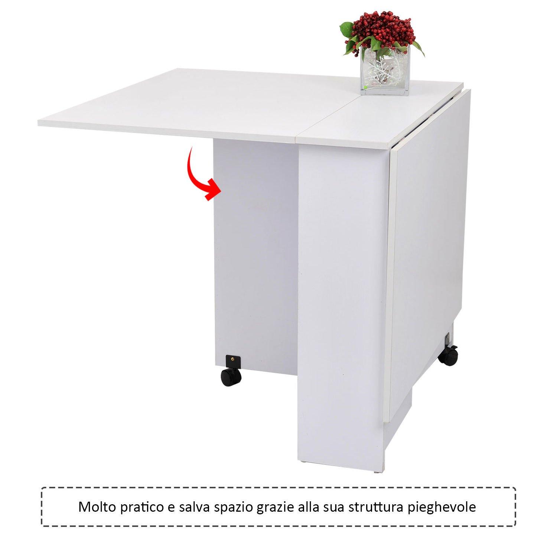 Tavoli Pieghevoli Con Rotelle.Outsunny Homcom Tavolo Pieghevole Scrivania In Legno Bianco Con Ruote