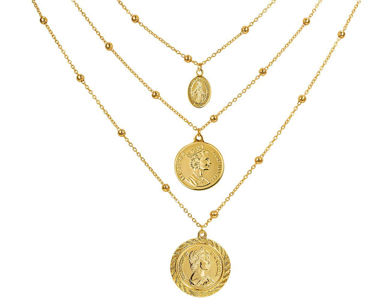 Coin Pendant Necklace 18K Gold Plated Canadian Coin Ball Chain Coin Vintage Layered Necklace for Women Jewelry