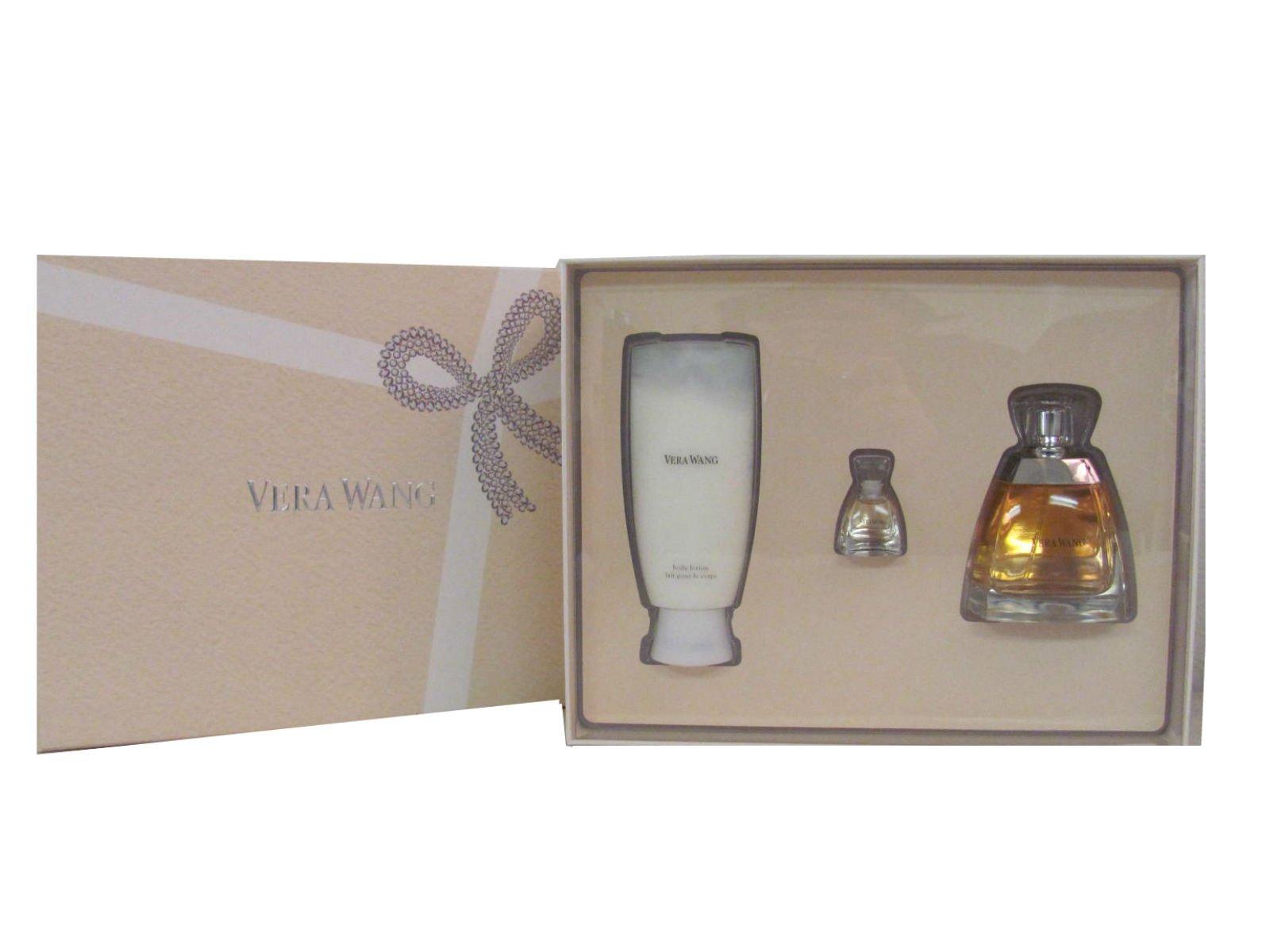 Vera Wang By Vera Wang Gift Set for Women: 3.4 Oz Eau De Parfum Spray + 3.4 Oz Body Lotion + 4ml Eau De Parfum