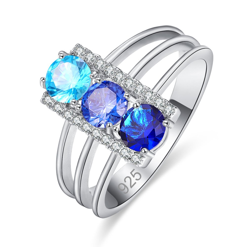 Psiroy 925 Sterling Silver Created Tanzanite Filled 3 Stones Promise Ring for Her Size 9