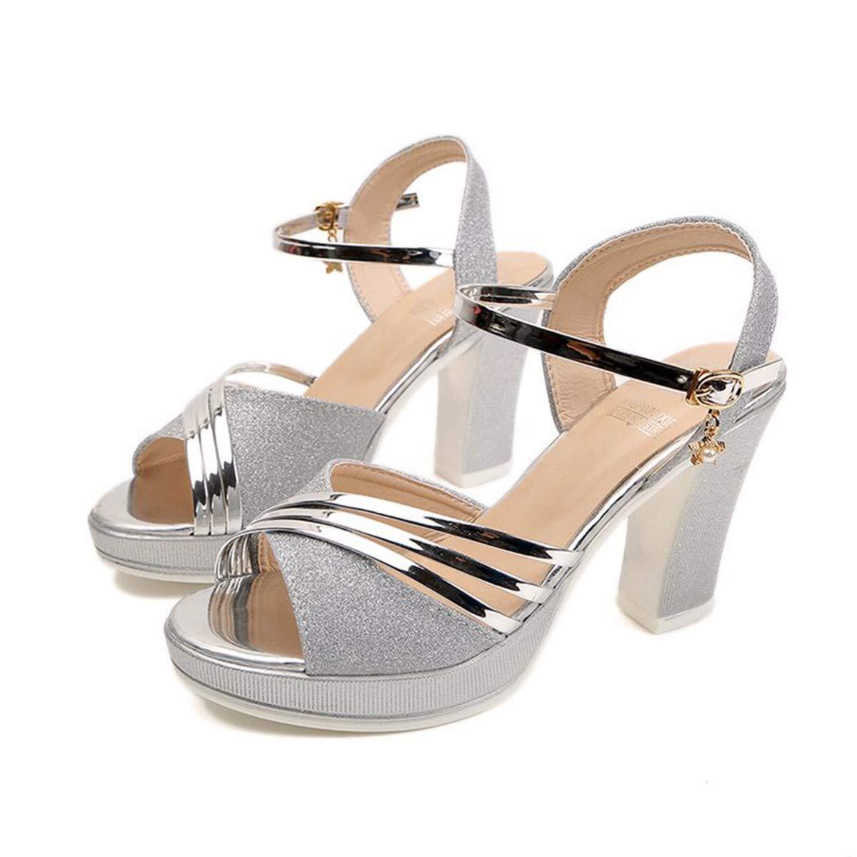 GTVERNH Damenschuhe Mode 10 cm High Heels Sandaletten EIN Wort mit Dicken Fisch Im Mund - Schuhe Rom Mode Damenschuhe.