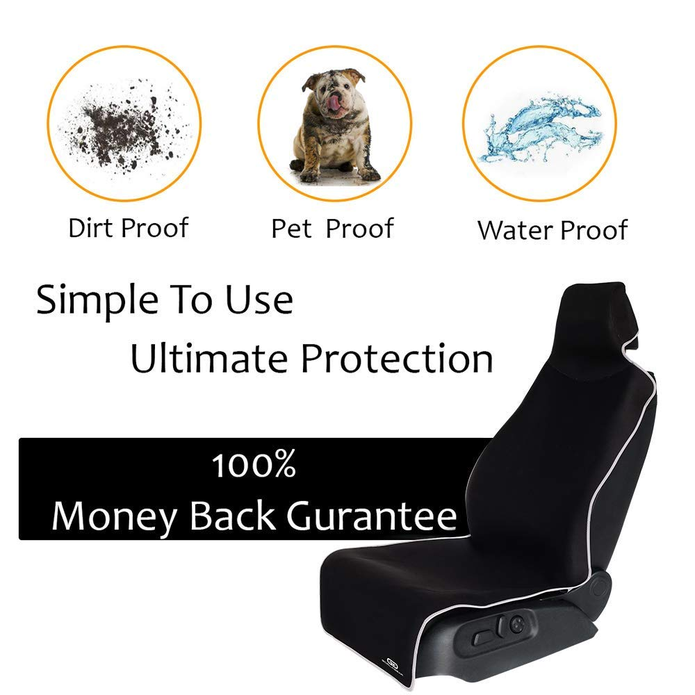 Car Seat Cover Waterproof Car Seat Protector Non-Slip SBR Vehicle Seat Protector, Best Protection for Sweat, Stains & Smell, Fit for Most Sedan Cars, SUVs, Black (59'' long x 26'' wide) (Full Size) 1PCS by TanYoo (Image #4)