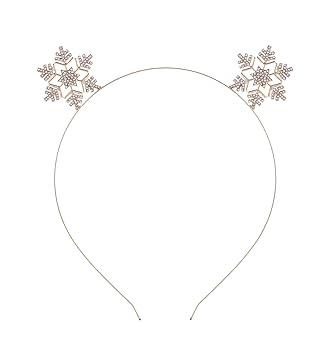 Amazon.com   VOGUEKNOCK Snowflake Headband Christmas Children Headband  Crystal Sparkle Ear Hairloop (gold)   Beauty de5397cbf4c