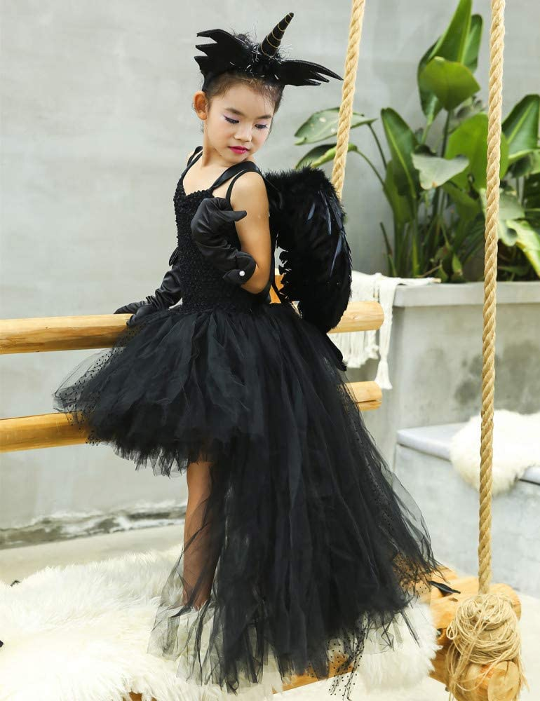 Vestido De Diablo Negro De Halloween Vestido De Niñas Tutu Angel ...