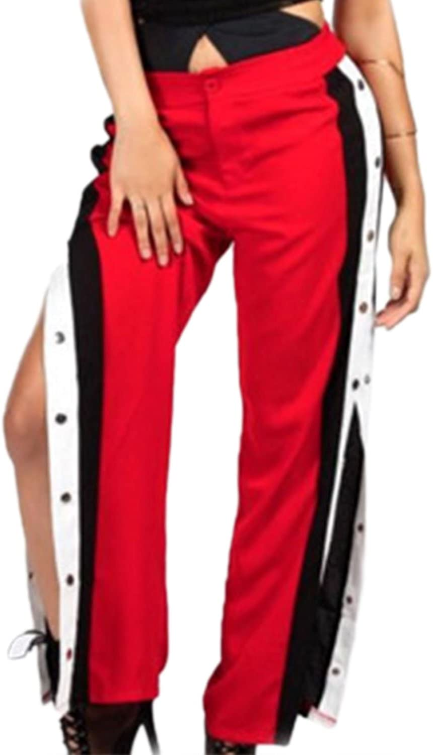 Suvimuga Womens Side Buttons Slit Wide-Leg Club Long Pants Sport Trousers
