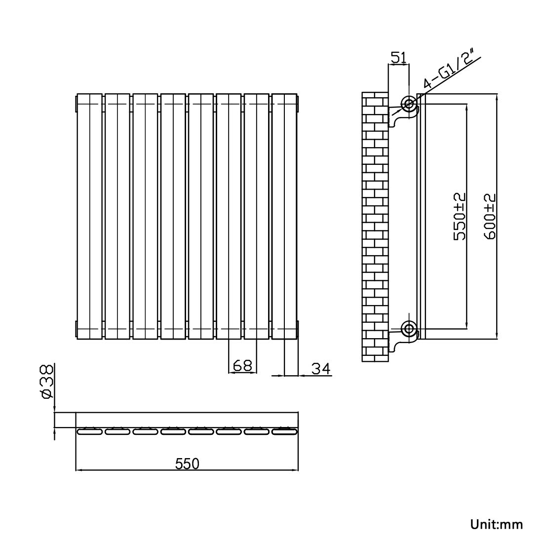 EMKE 600 x 550 mm Horizontal Column Designer Radiator Single Flat Panel White Bathroom Central Heating Radiators