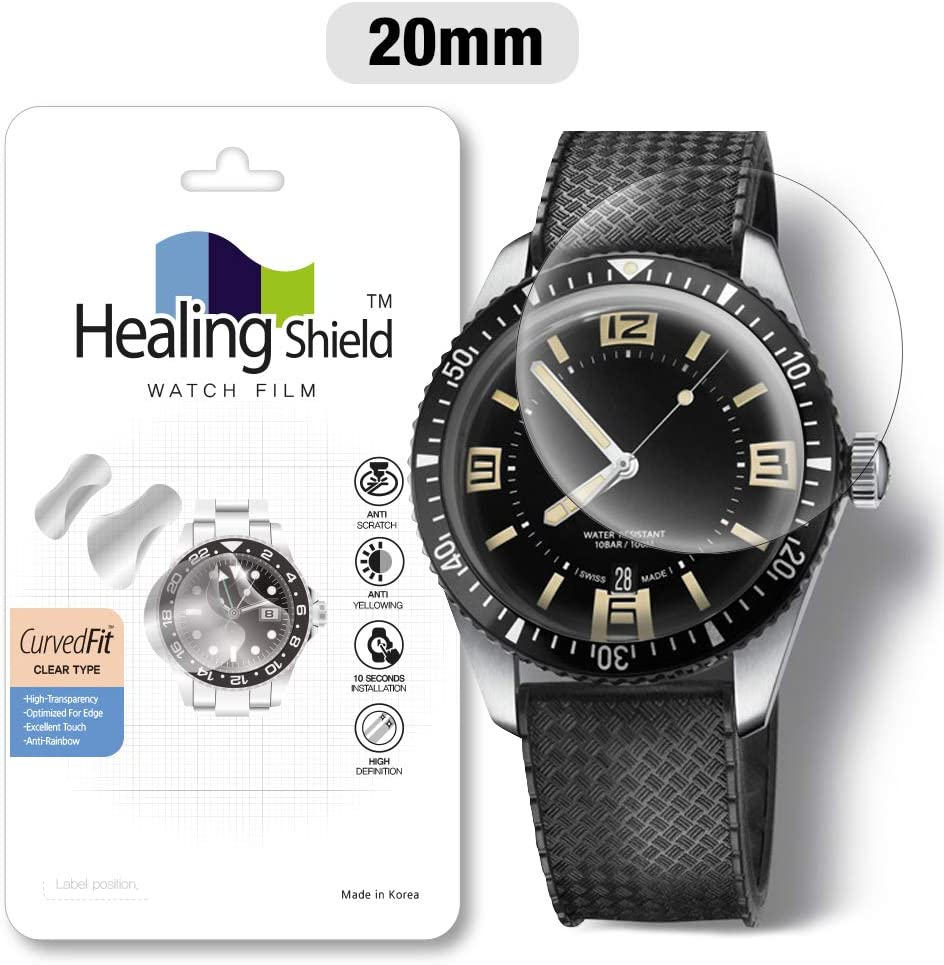 Smartwatch Screen Protector Film 20mm for Round Wrist Watch Healing Shield Analog Watch Glass Screen Protection Film (20mm) [1PACK]