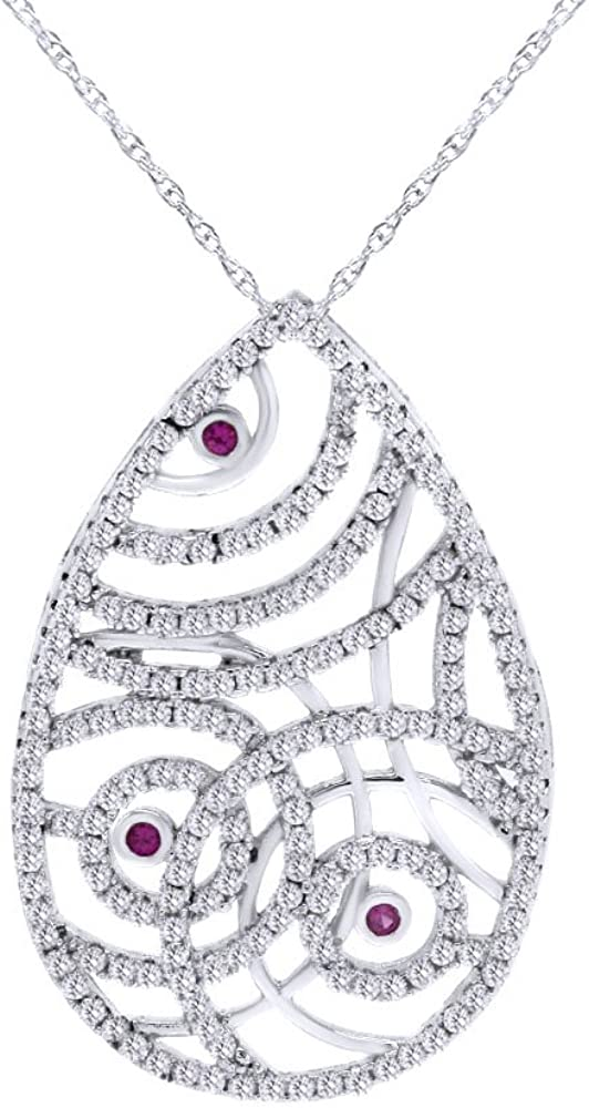 Wishrocks Round Cut Simulated Pink Sapphire /& White CZ Teardrop Pendant Necklace in Sterling Silver
