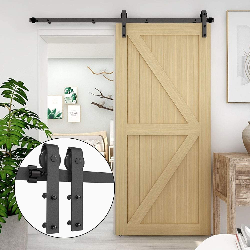 CCJH 1 Pair of Flat Style Rollers for Sliding Barn Wood Single Door Closet Hardware Kit