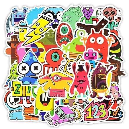 HJK-kgogigf Doodle Stickers Funny Little Monster Robot Decal ...