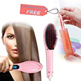 Japp Fast Hair Straightener Brush With Temperature (Multicolor)