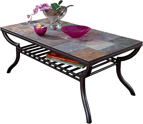 Amazon Com Ashley Furniture Signature Design Antigo Coffee Table Slate Top With Metal Bottom Cocktail Height Contemporary Black Home Kitchen