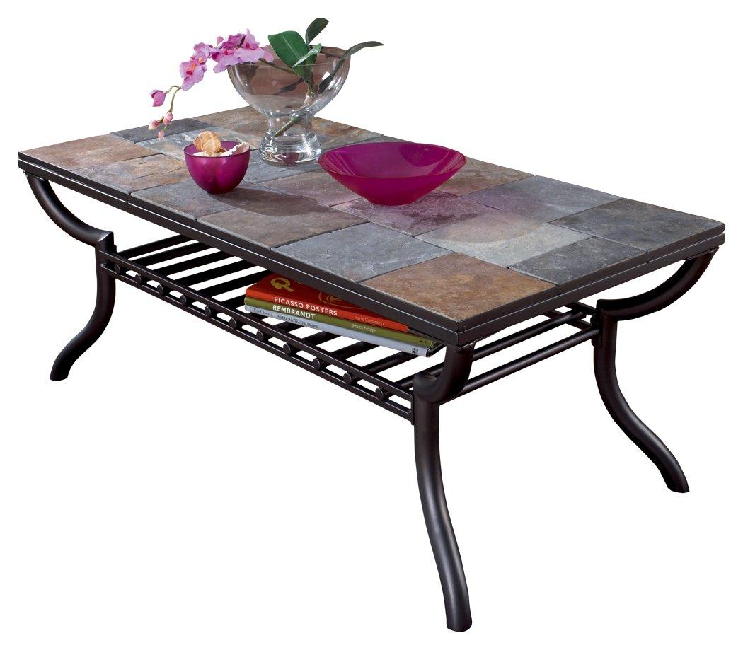 Ashley slate coffee table - Amazon Com Ashley Furniture Signature Design Antigo Coffee Table Slate Top With Metal Bottom Cocktail Height Contemporary Black Home Kitchen