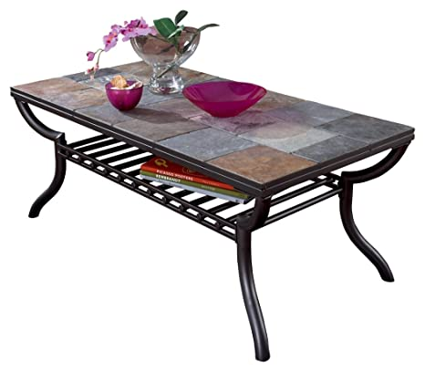Enjoyable Ashley Furniture Signature Design Antigo Coffee Table Slate Top With Metal Bottom Cocktail Height Contemporary Black Short Links Chair Design For Home Short Linksinfo