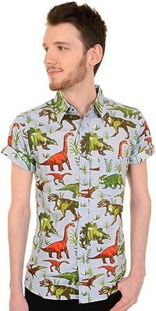 Run & Fly Hombre Años 50 Kitsch Retro Dinomite Dinosaurio Camisa: Amazon.es: Ropa y accesorios