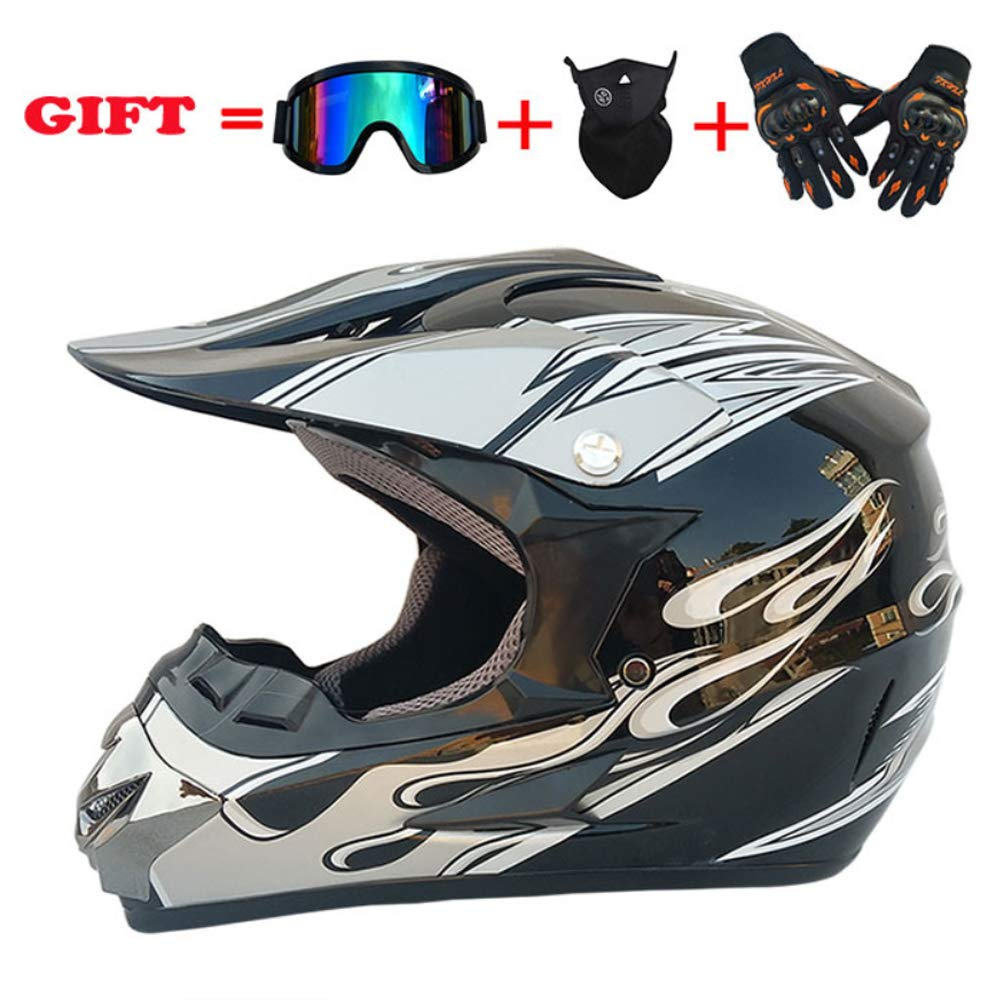 DOUBLEL Adult Full Face Helmet-Off-Road Mountain Motorcycle Helm with Internal Sun Visor Helm Helm Unisex Sports Protection Equipment (Set of 4)