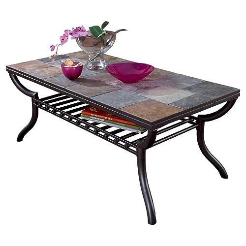 Exceptional Ashley Furniture Signature Design   Antigo Coffee Table   Slate Top With  Metal Bottom   Cocktail