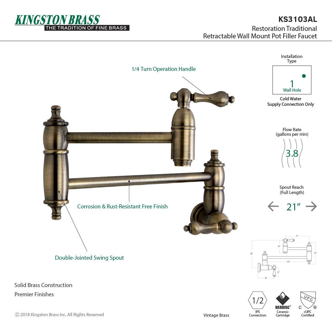 Kingston Brass KS3103AL Restoration Pot Filler, Vintage Brass