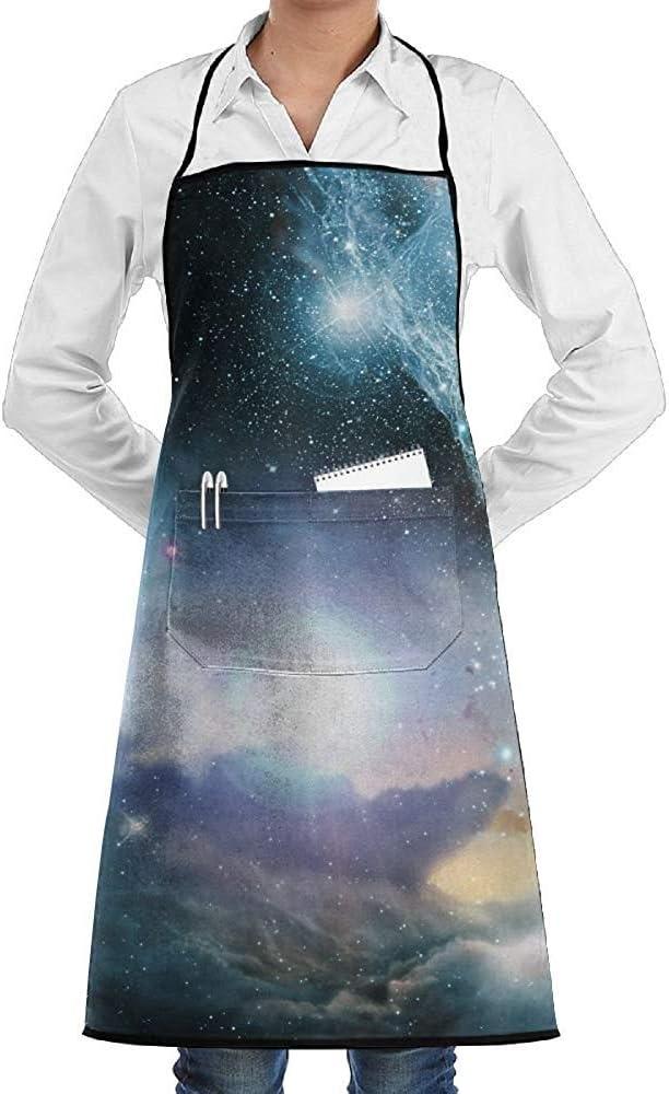 Wthesunshin Nebulosa Espacial Galaxy Star Delantal Encaje Adulto Hombres Mujeres Chef Ajustable Poliéster Largo Completo Negro Cocina Delantales de Cocina Babero con Bolsillos