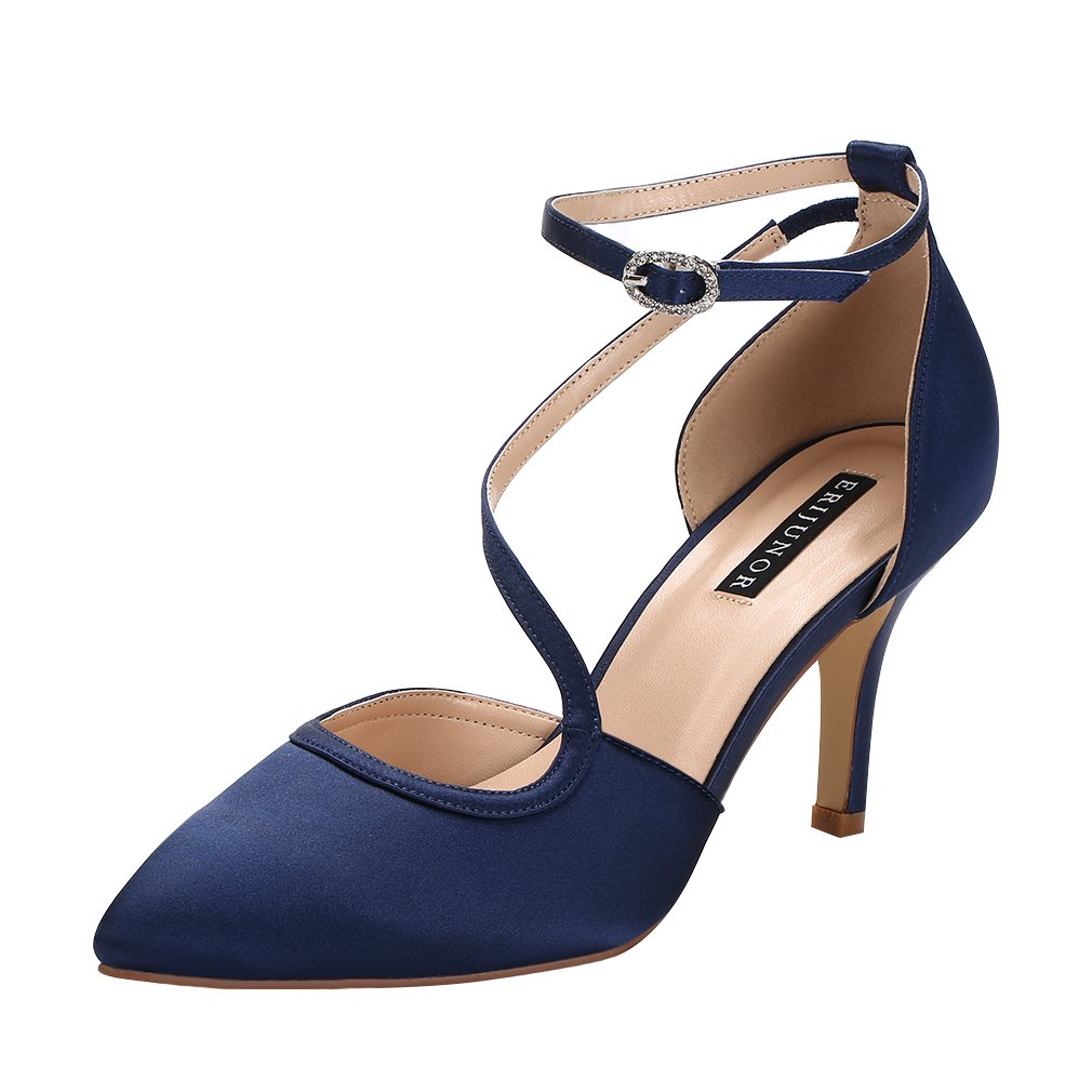 ERIJUNOR E1706 Women Comfortable Mid Heel Ankle Strappy Dress Pumps Pointed Toe Satin Wedding Evening Party Shoes Navy Size 10
