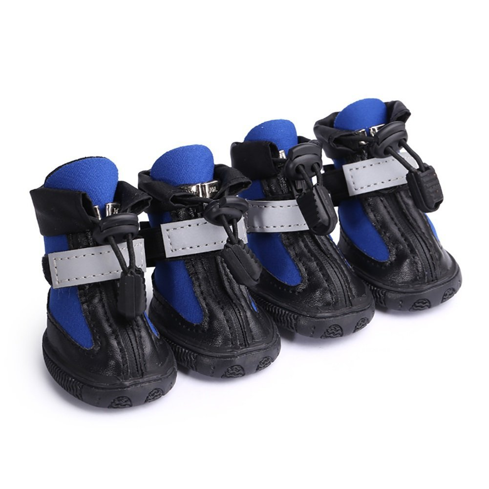 bluee N04 bluee N04 Dog shoes, Waterproof Non-Slip Diving Fabric Pet Rain shoes Zipper Reflective Strap Wear-Resistant Rubber Pet Boots Large Medium Small Dog Sport shoes 2 color & 10 Size (color   bluee, Size   N04)