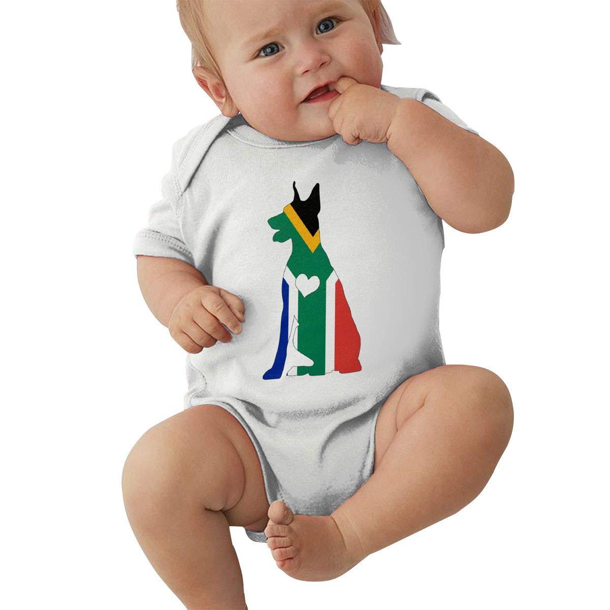 Mri-le2 Baby Boy Girl Short Sleeve Jumper Bodysuit South African Flag Adore Dobermans Kid Pajamas