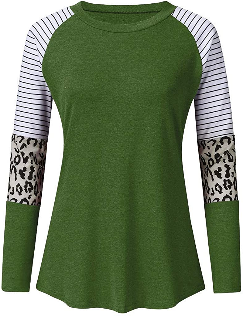 BCDlily Women Leopard Patchwork Pocket Long Sleeve Sweatshirt Pullover Shirts Top Casual Blouse