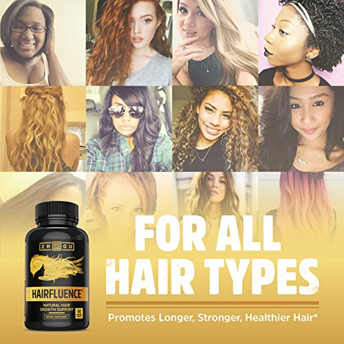 HAIRFLUENCE Hair Growth Formula For Longer, Stronger, Healthier Hair Scientifically Formulated with Biotin, Keratin, Bamboo & More! For All Hair Types Veggie Capsules