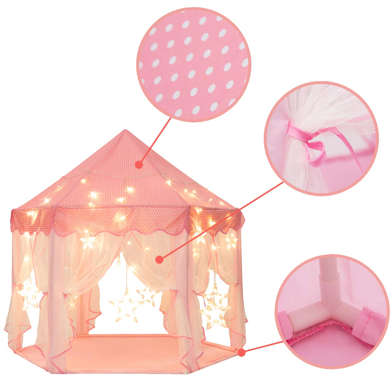 Sunnyglade 55'' x 53'' Princess Tent with 8.2 Feet Big and Large Star Lights Girls Large Playhouse Kids Castle Play Tent for Children Indoor and Outdoor Games by Sunnyglade (Image #3)