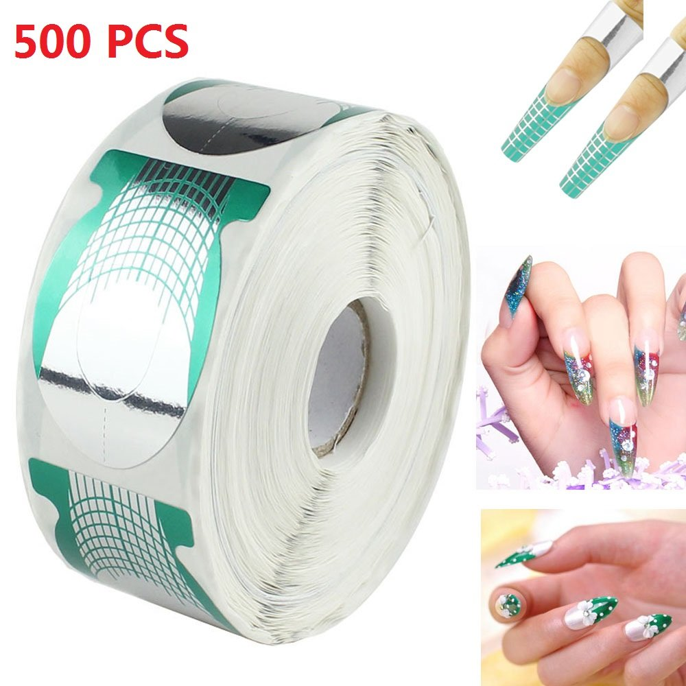 MultiWare 500pcs Nail Art Extension Sticker Form Acrylic UV Roll Gel Nail Tips Decor Tool OEM