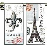 Dish Towels- Set of 2- Paris Artistique: 1 with the Eiffel Tower & 1 with the Fleur de Lis