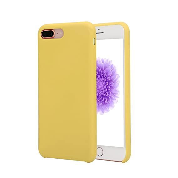 brand new 68b94 9c414 ousenno Case Ultra Thin Liquid Silicone Gel Rubber Shockproof Case and  Ultra Soft Microfiber Cloth Lining Cushion for iPhone 7 Plus/8 Plus, Yellow