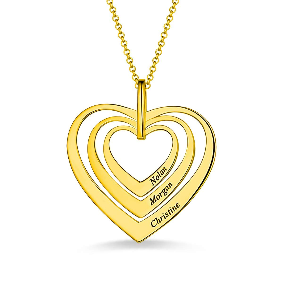 Hua Meng Personalised Family Name Necklace 3 Names Heart Engraved Necklace Pendant