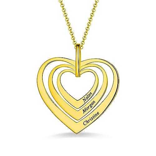 db994798dae4 JF Collar Personalizado con Nombre de Familia 3 Nombres corazón Grabado  Collar Colgante  Amazon.es  Joyería