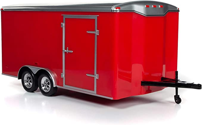 American Muscle Enclosed Trailer White w//Silver 1:18 Scale Die-Cast Model