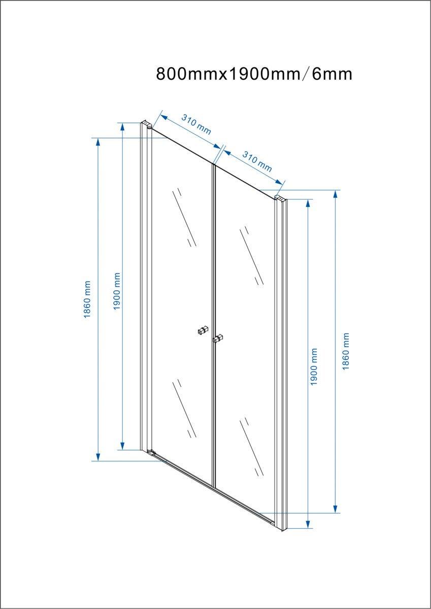 Yellowshop/-/Box douche 70 hauteur 190 cm,/ouverture /à 180/degr/és 90 cm 80 porte battante niche en aluminium cristal transparent et mat 6/mm 100 transparent