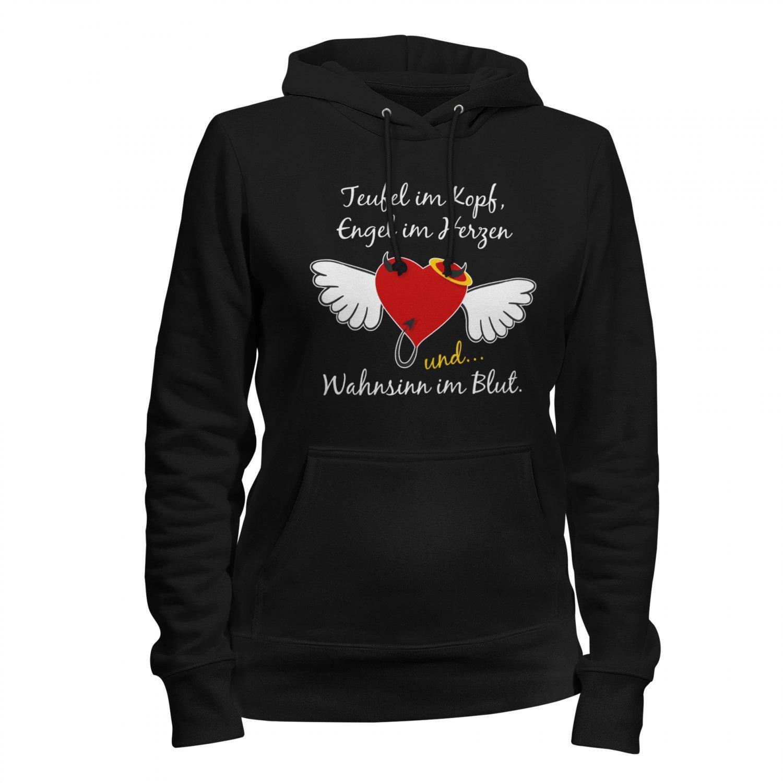 Teufel Engel Wahnsinn Damen Kapuzen Pullover Hoodie Spruch Herz Flügel Lustig