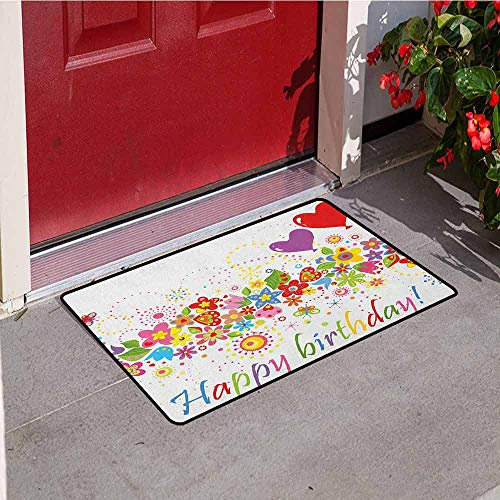 Gloria Johnson Birthday Front Door mat Carpet Happy Celebration on Colorful Flourishing Meadow Heart Shaped Balloons Art Print Machine Washable Door mat W19.7 x L31.5 Inch Multicolor