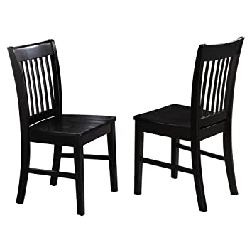 East West Furniture Norfolk Dining Chair With Wooden Seat   Set Of 2   Black