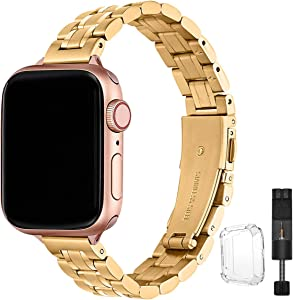 STIROLL Thin Replacement Band Compatible for Apple Watch 38mm 40mm 42mm 44mm, Stainless Steel Metal Wristband Women Men for iWatch SE Series 6/5/4/3/2/1 (Gold, 42mm/44mm)