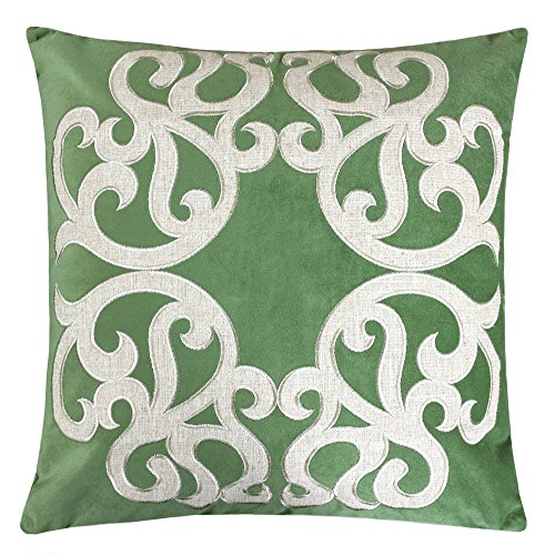 (Homey Cozy Applique Green Velvet Throw Pillow Cover,Spring Green Series Sparkly Vine Modern Tropical Decorative Sofa Couch Pillow Case 20x20,Cover Only)