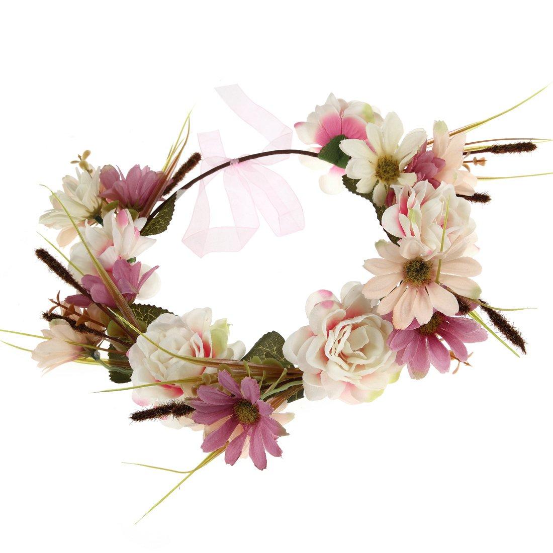 Flower Crown Wreath Headbands Women Girls Handmade Boho Floral Garland Wedding Birthday Party Photos Festival (Purple Cosmos)
